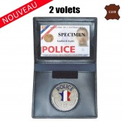 PORTE CARTE CUIR FORMAT CB AVEC INSIGNE POLICE