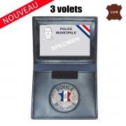 PORTE CARTE CUIR FORMAT CB AVEC INSIGNE POLICE MUNICIPALE 3 VOLETS