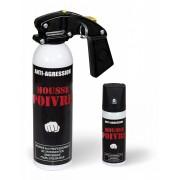 Aérosol lacrymogène anti-agression mousse poivre
