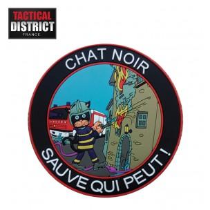Ecusson PVC Chat Noir Pompiers