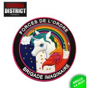 Ecusson PVC Licorne Brigade imaginaire Forces de l'ordre PHOSPHORESCENT noir