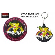 Pack Licorne écusson + porte-clés PHOSPHORESCENTS