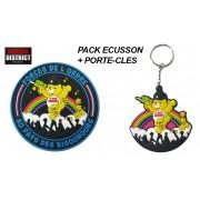 Pack Bisounours écusson bleu + porte-clés