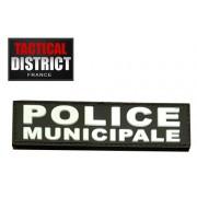 Petite barrette PVC - POLICE MUNICIPALE - Blanc et Basse Visibibilité