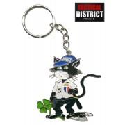 Porte-Clés Chat Noir Police en métal